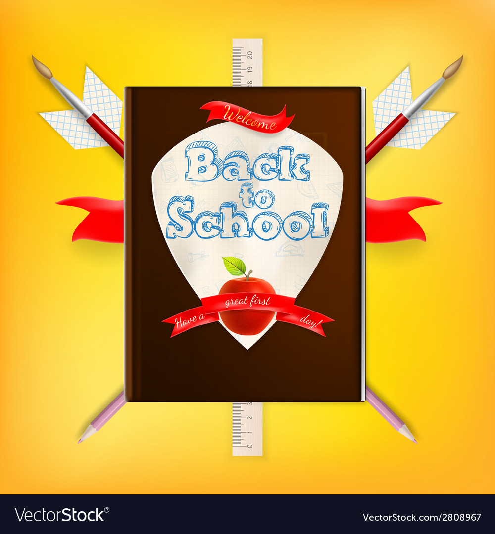 Coat of arms with school supplies eps 10 vector | Price: 1 Credit (USD $1)