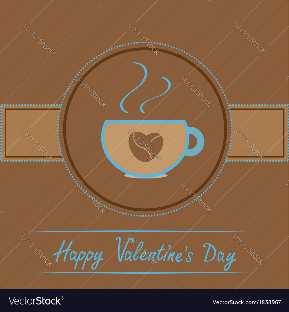 Cup with coffee seeds heart happy valentines day vector | Price: 1 Credit (USD $1)