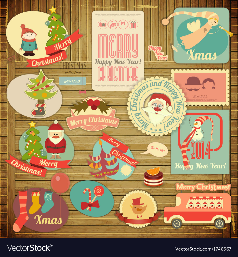 Merry christmas label set vector | Price: 1 Credit (USD $1)