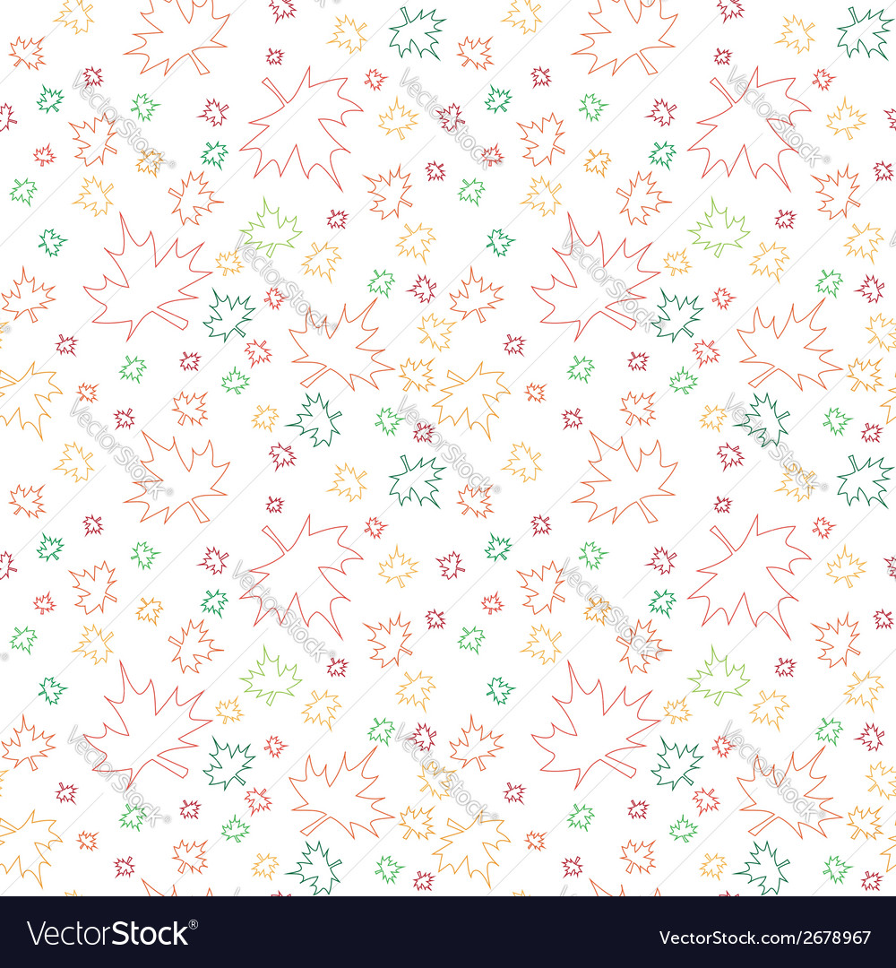 Seamless pattern with outlines of autumn leaves vector | Price: 1 Credit (USD $1)
