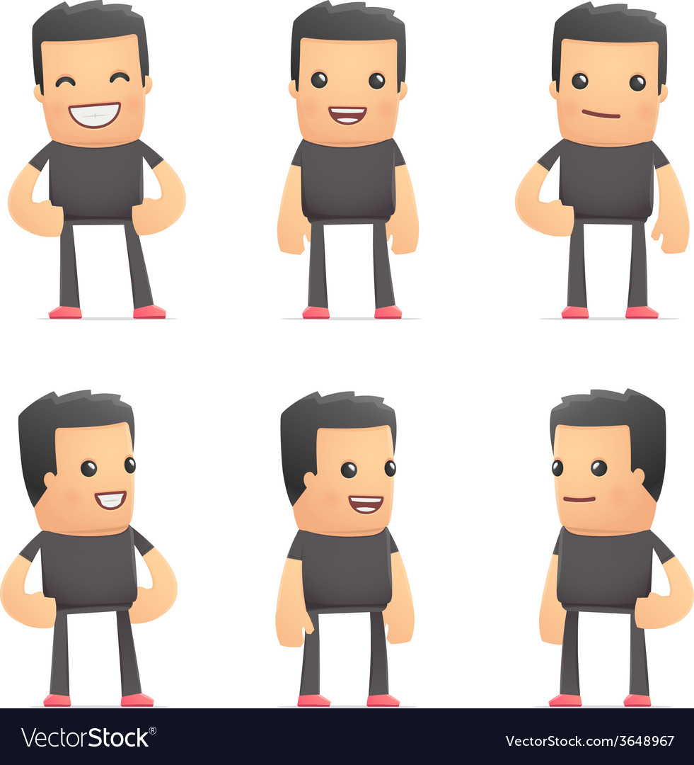 Set of bad guy character in different poses vector | Price: 3 Credit (USD $3)