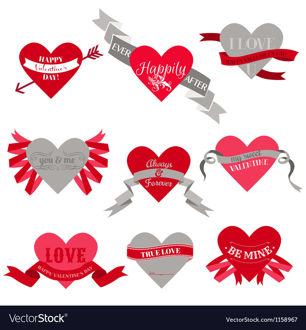 Valentines day heart labels tags ribbons frames vector | Price: 1 Credit (USD $1)