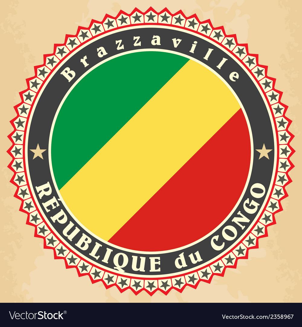 Vintage label cards of republic of the congo flag vector | Price: 1 Credit (USD $1)