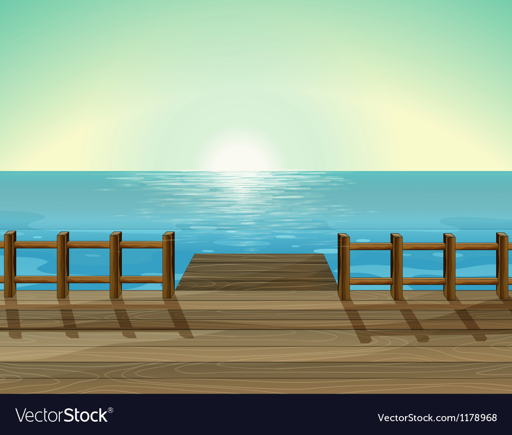 A view of a port and the sea vector | Price: 1 Credit (USD $1)