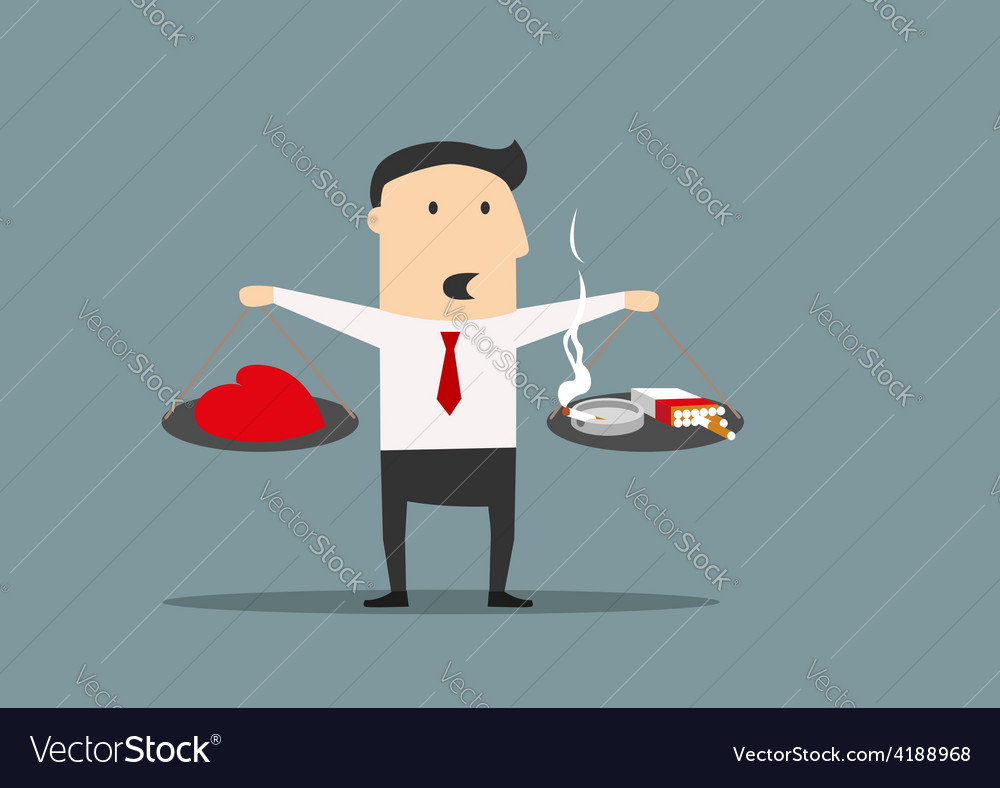 Cartoon businessman between cigarettes and a heart vector | Price: 1 Credit (USD $1)