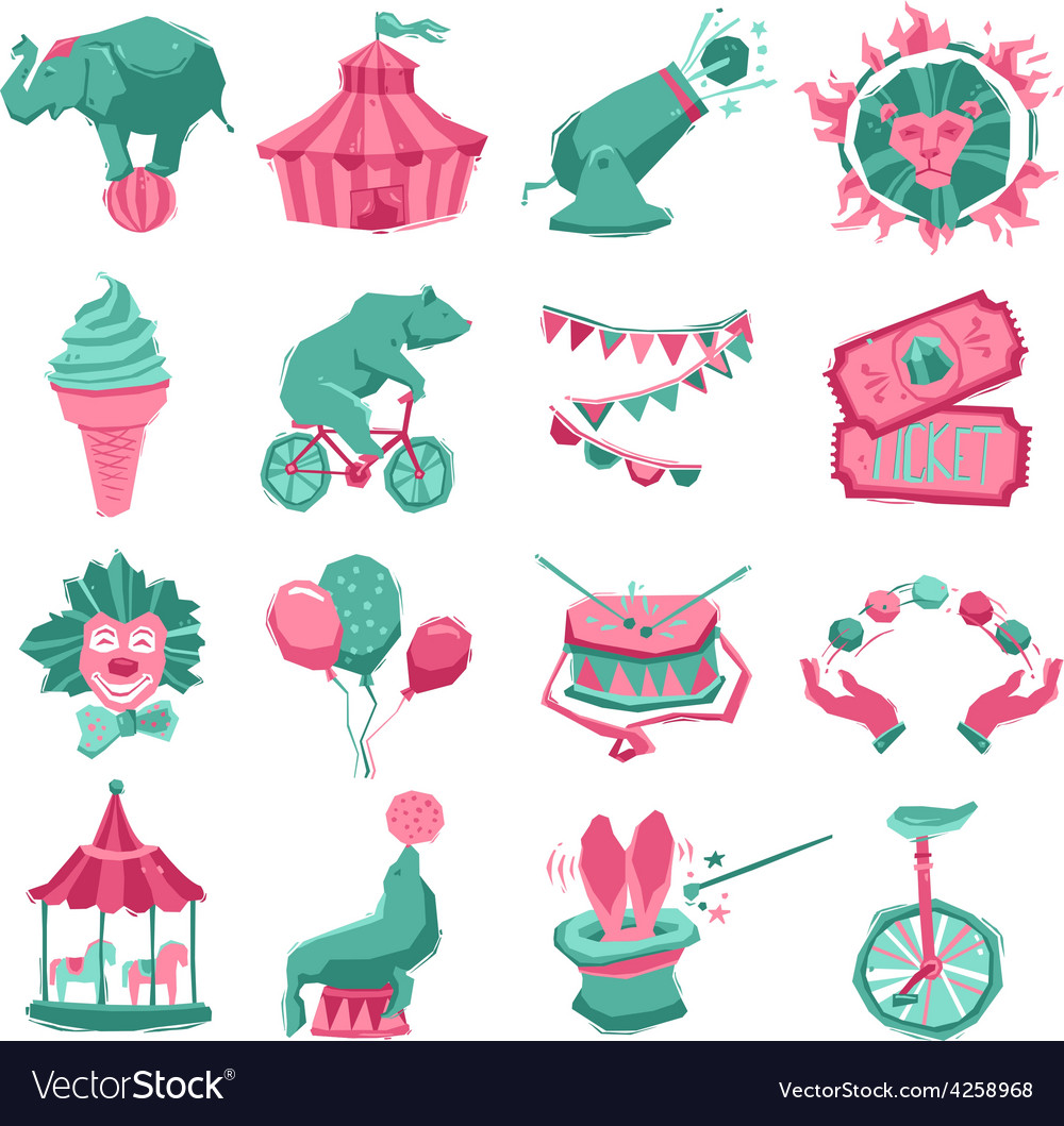 Circus icon set vector | Price: 1 Credit (USD $1)