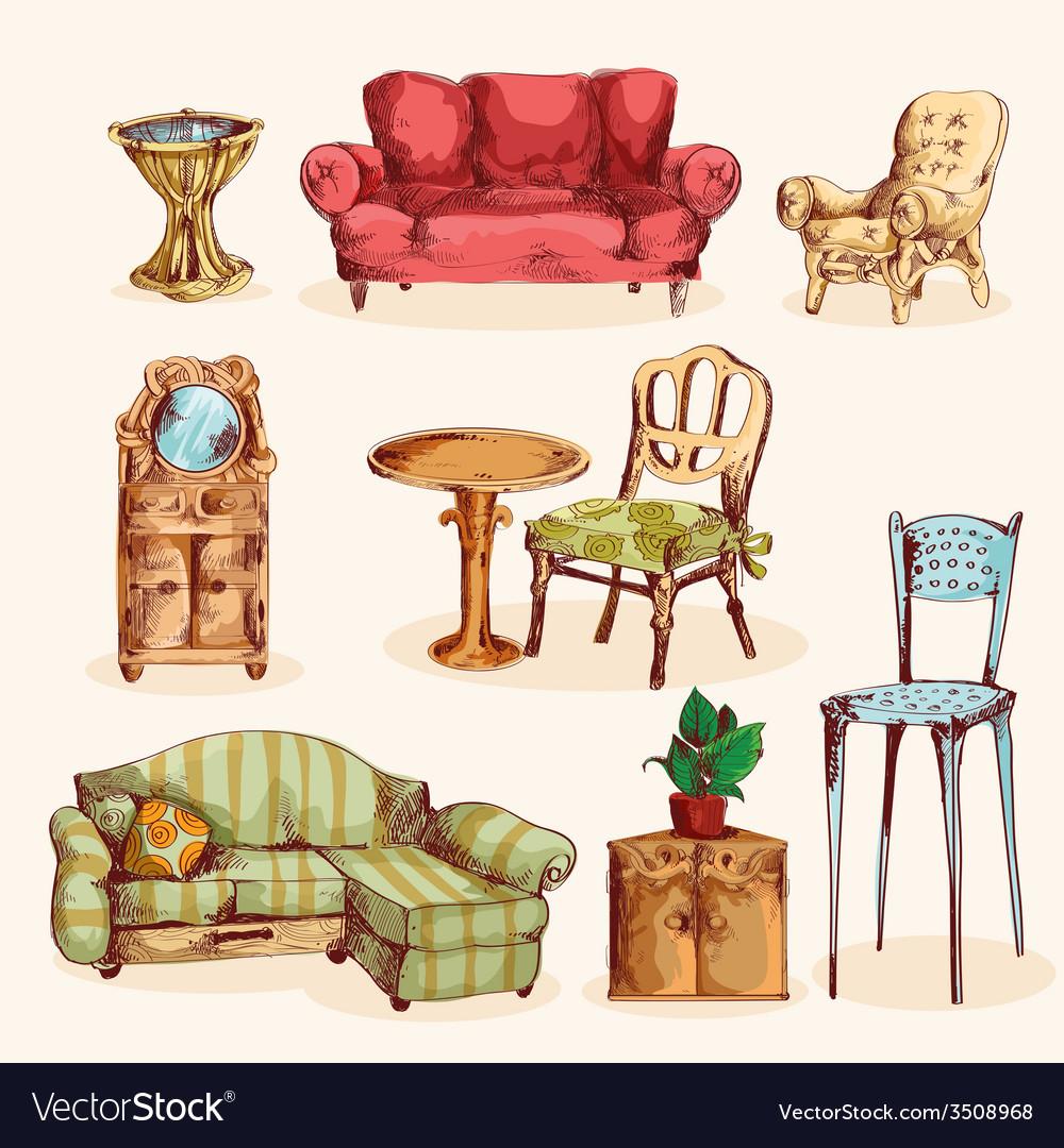 Furniture sketch colored vector | Price: 1 Credit (USD $1)