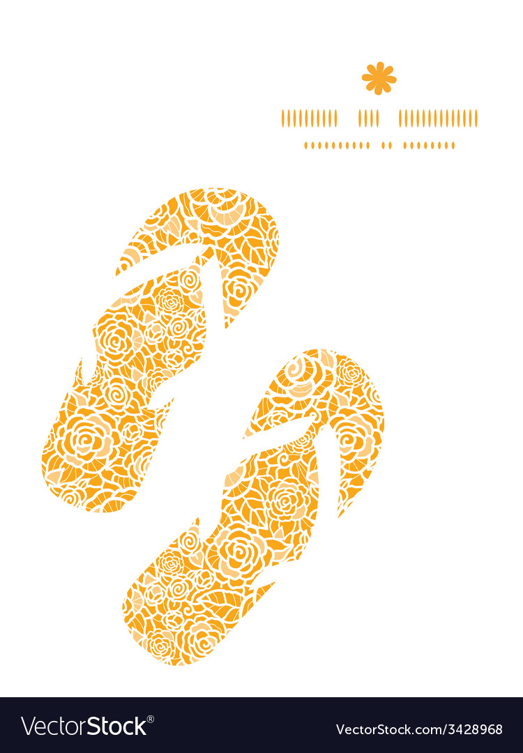 Golden lace roses flip flops silhouettes pattern vector | Price: 1 Credit (USD $1)