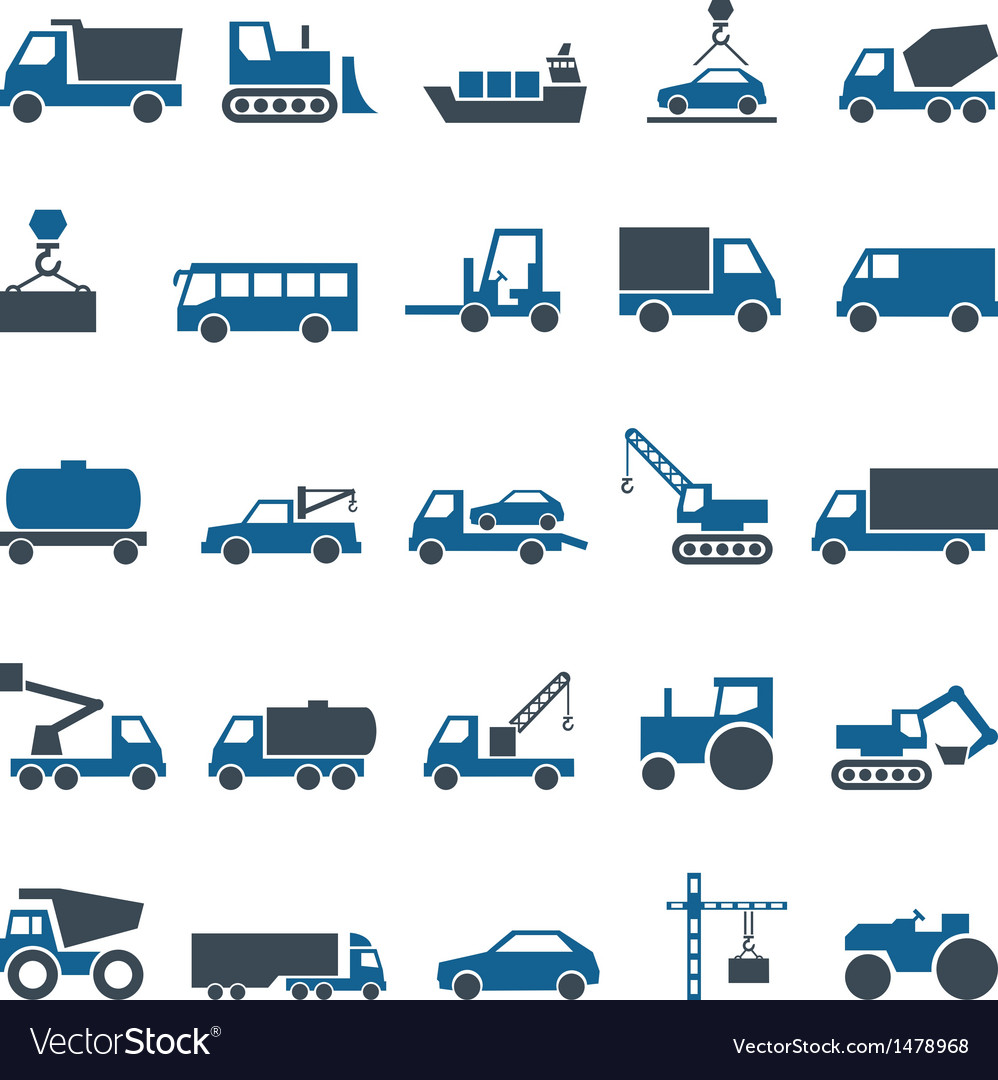 Icons of construction and trucking industry vector | Price: 1 Credit (USD $1)