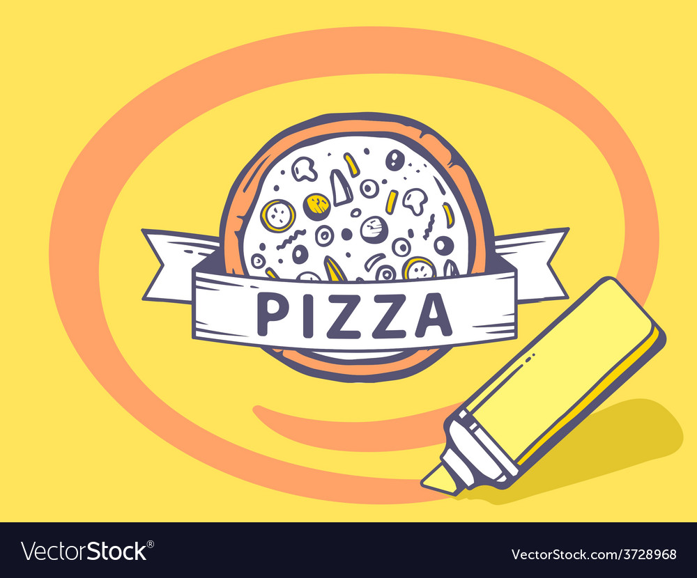 Marker drawing circle around pizza on yel vector   Price: 1 Credit (USD $1)