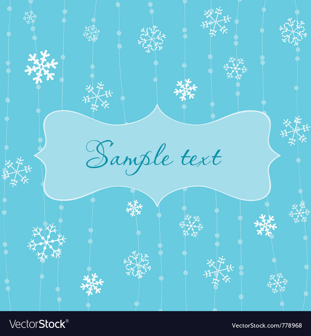 Retro snowflakes card in blue vector | Price: 1 Credit (USD $1)