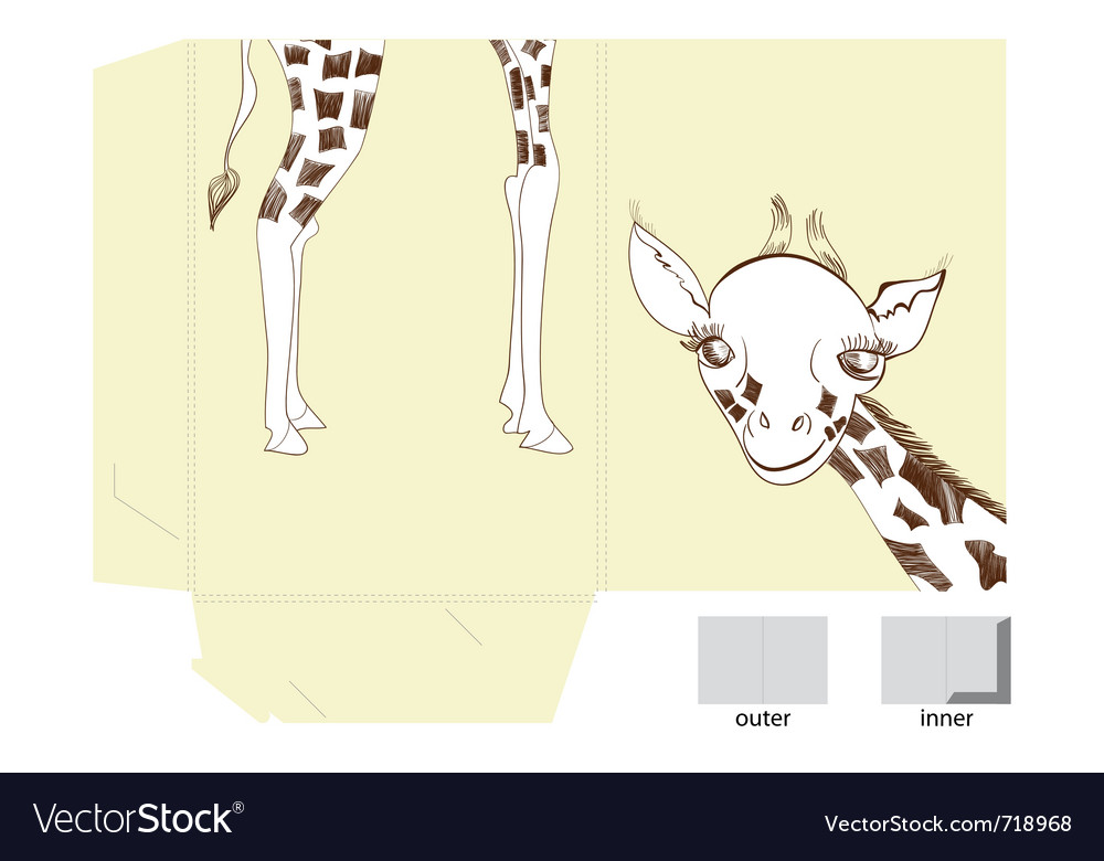 Template for folder with of giraffe vector | Price: 1 Credit (USD $1)
