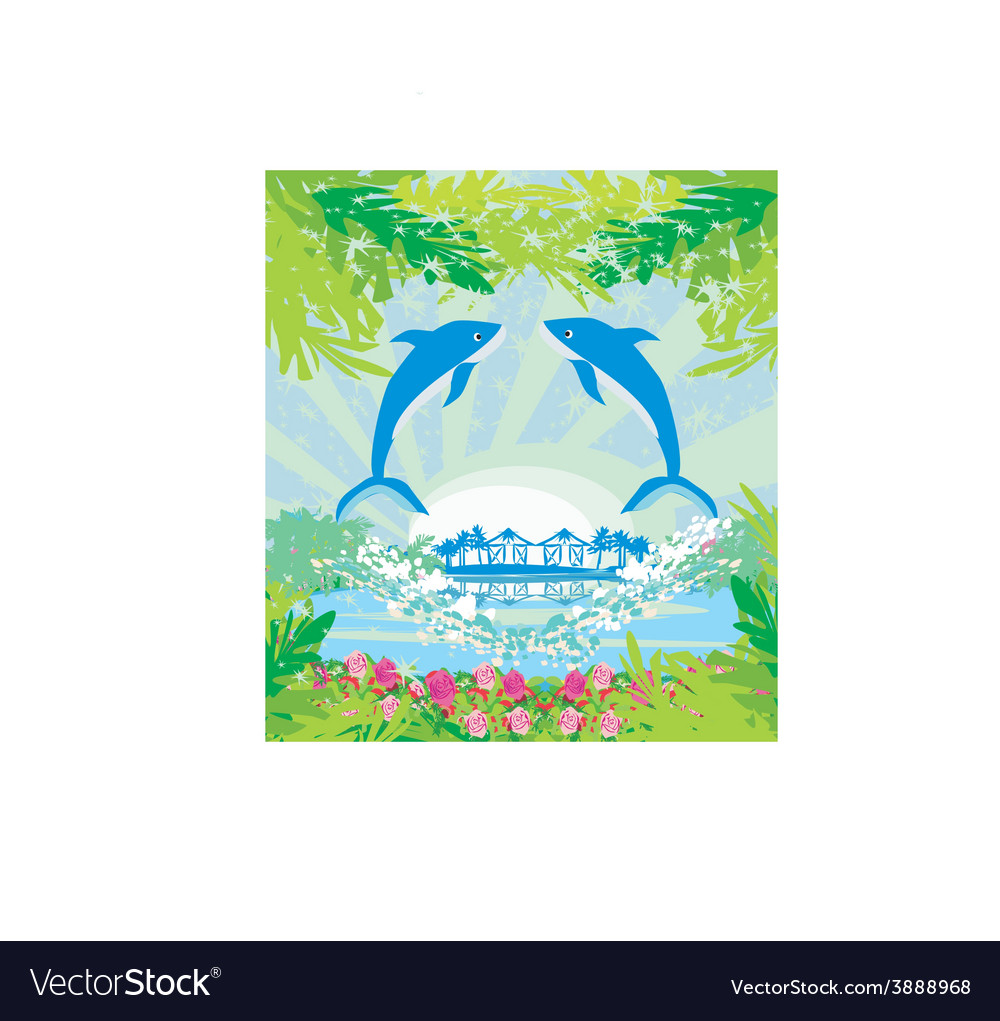 Tropical island paradise with leaping dolphins vector | Price: 1 Credit (USD $1)