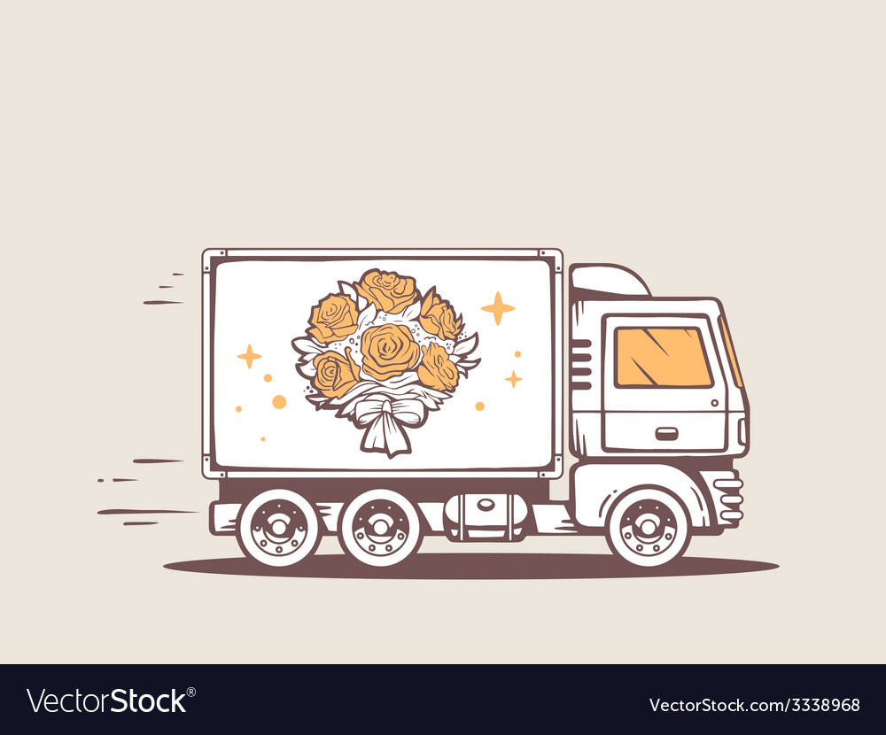 Truck free and fast delivering bouquet of vector | Price: 1 Credit (USD $1)
