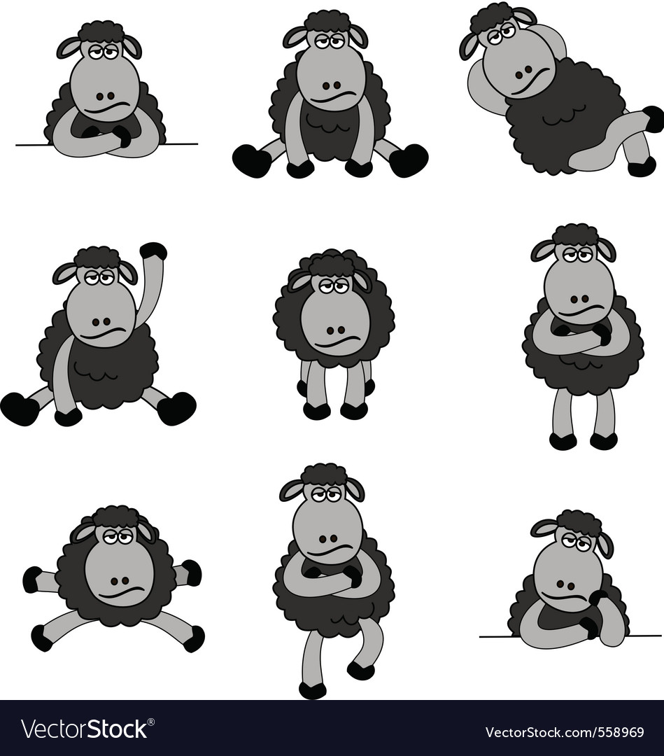 Black sheep set vector | Price: 1 Credit (USD $1)