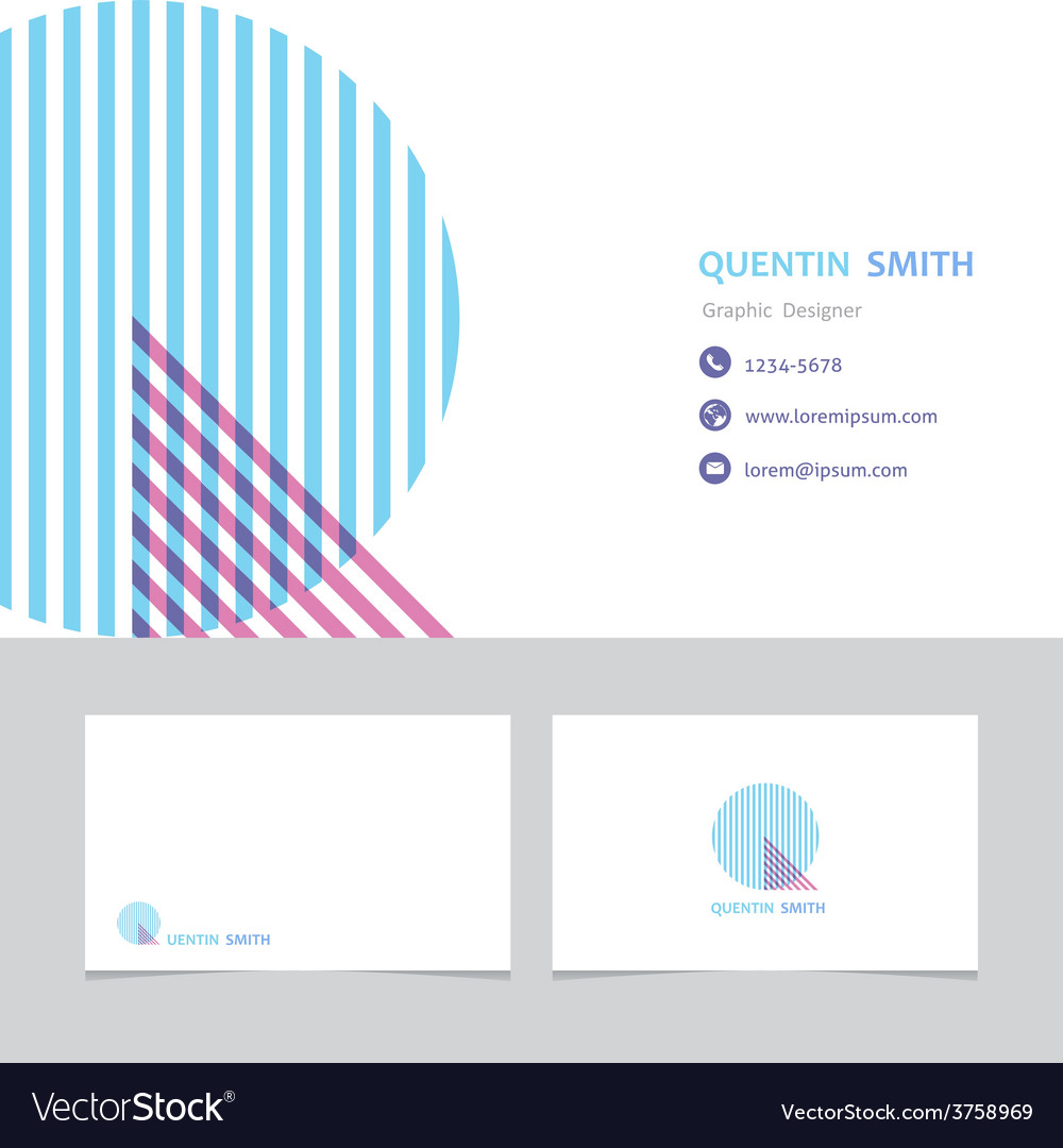 Business card template with a letter q vector | Price: 1 Credit (USD $1)