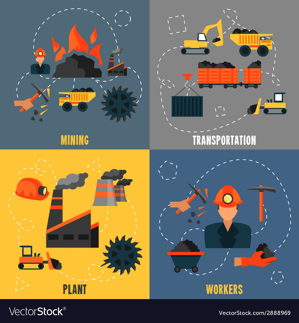 Coal industry flat set vector | Price: 1 Credit (USD $1)