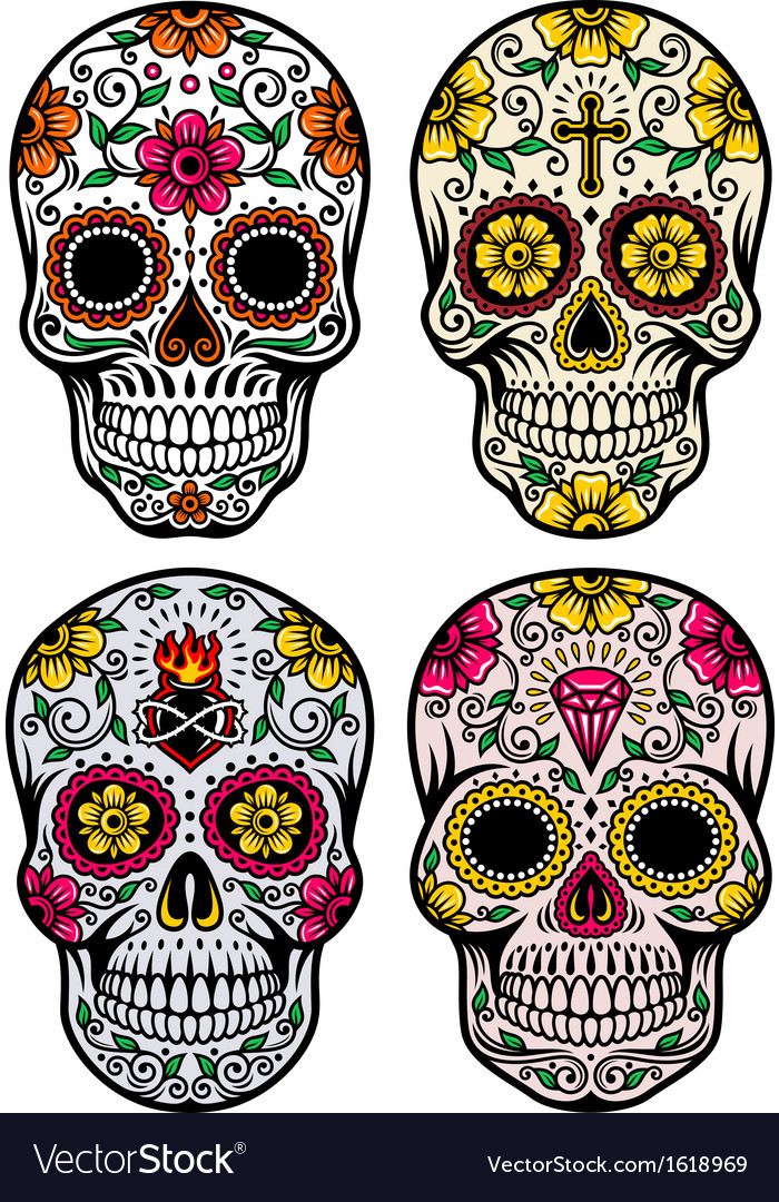 Day of the dead skull set vector | Price: 1 Credit (USD $1)
