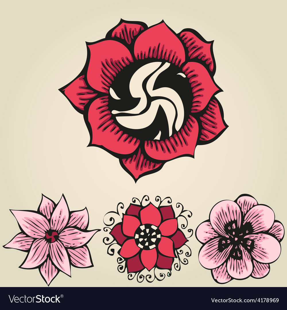 Floral doodling flowers set in tattoo style vector   Price: 1 Credit (USD $1)