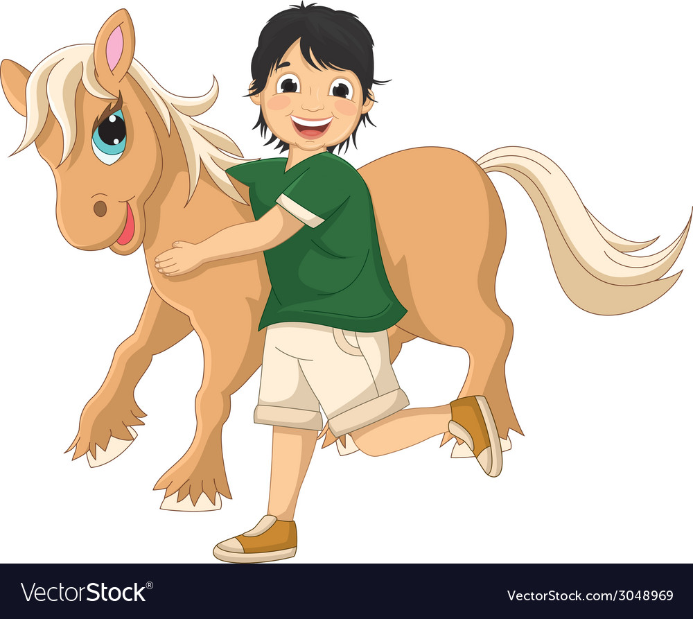 Of a little boy hugging pony vector | Price: 1 Credit (USD $1)