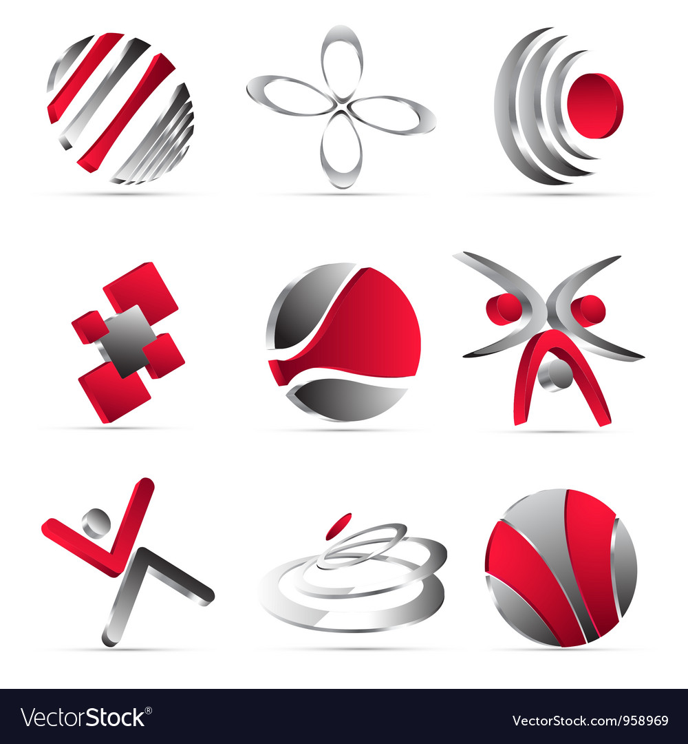 Red business icons design vector | Price: 1 Credit (USD $1)