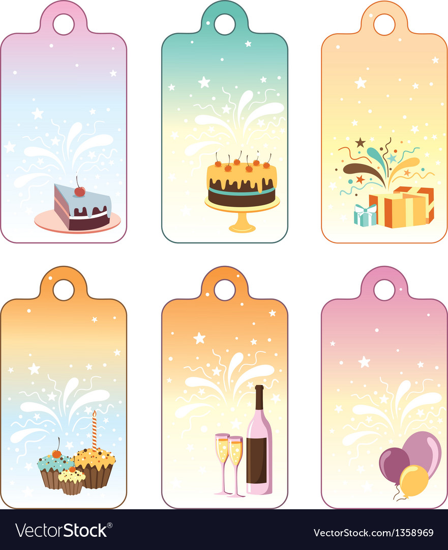 Set of celebration labels vector | Price: 1 Credit (USD $1)