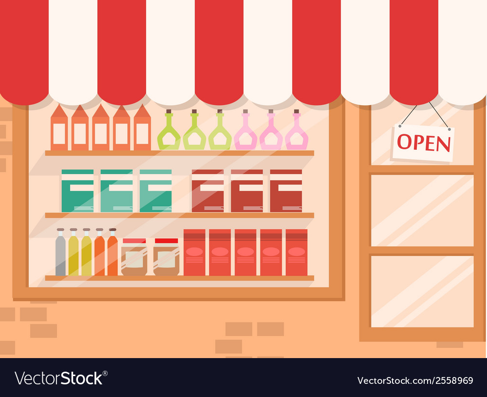 Store and market background with shelf vector | Price: 1 Credit (USD $1)