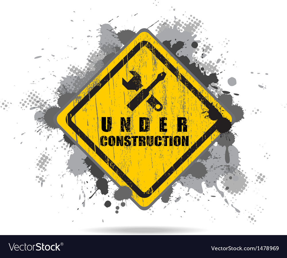 Worn road sign under construction with tools vector | Price: 1 Credit (USD $1)
