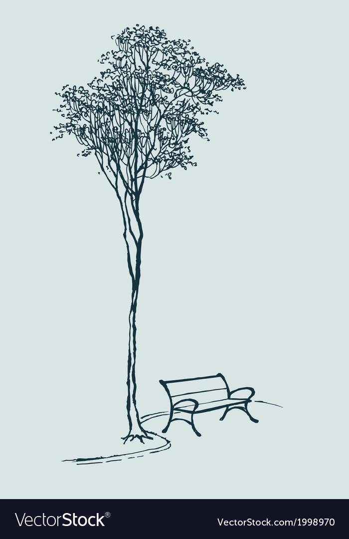 Bench in a park vector | Price: 1 Credit (USD $1)