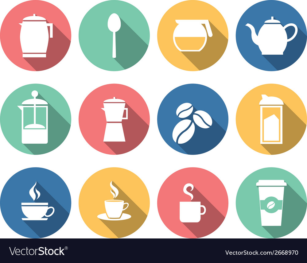 Coffee and tea icons vector