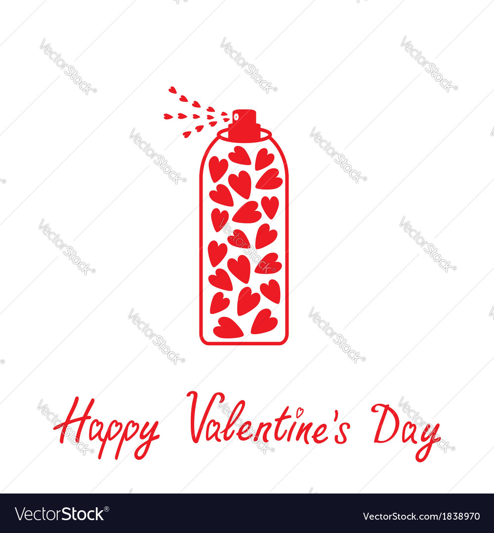 Deodorant spray with hearts inside happy valentine vector | Price: 1 Credit (USD $1)