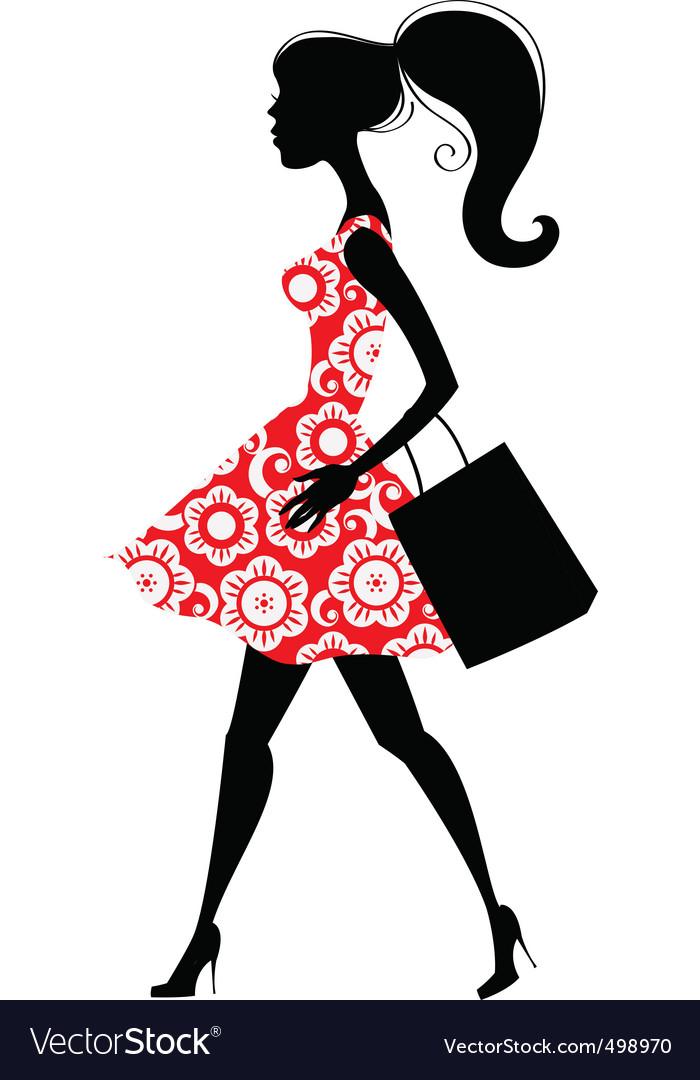 Fashion shopping girl vector | Price: 1 Credit (USD $1)