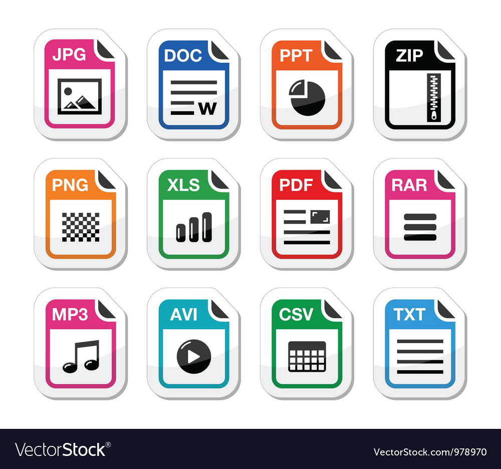 File type icons as labels set - zip pdf jpg doc vector | Price: 1 Credit (USD $1)
