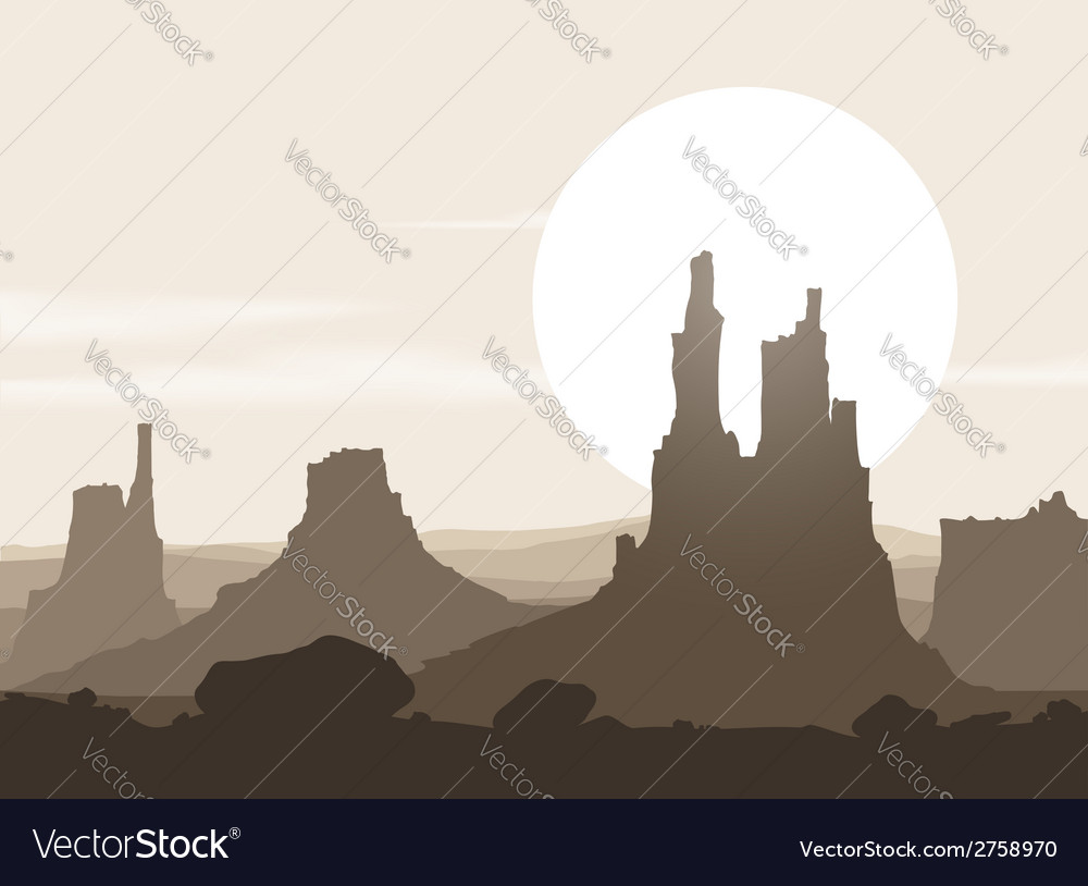 Lifeless landscape with mountains over sunset vector | Price: 1 Credit (USD $1)