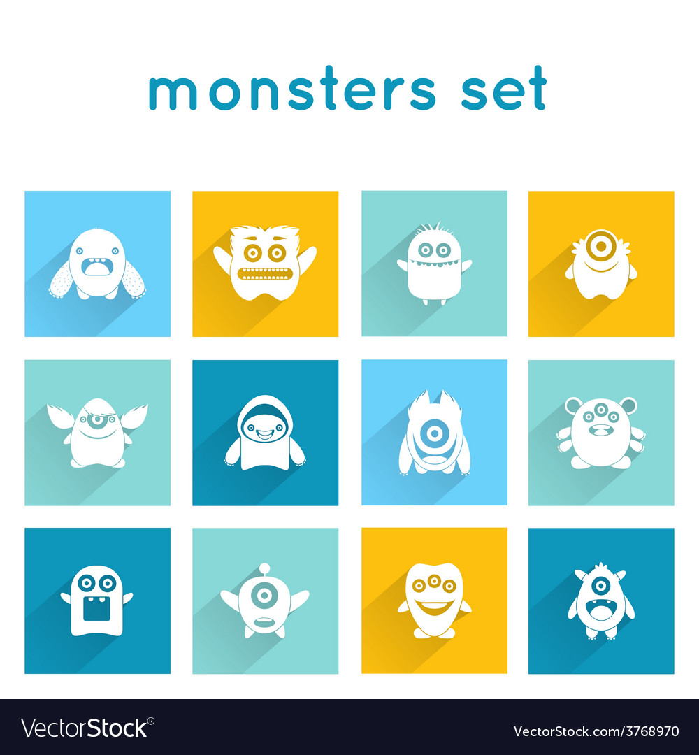 Monster icons set vector | Price: 1 Credit (USD $1)