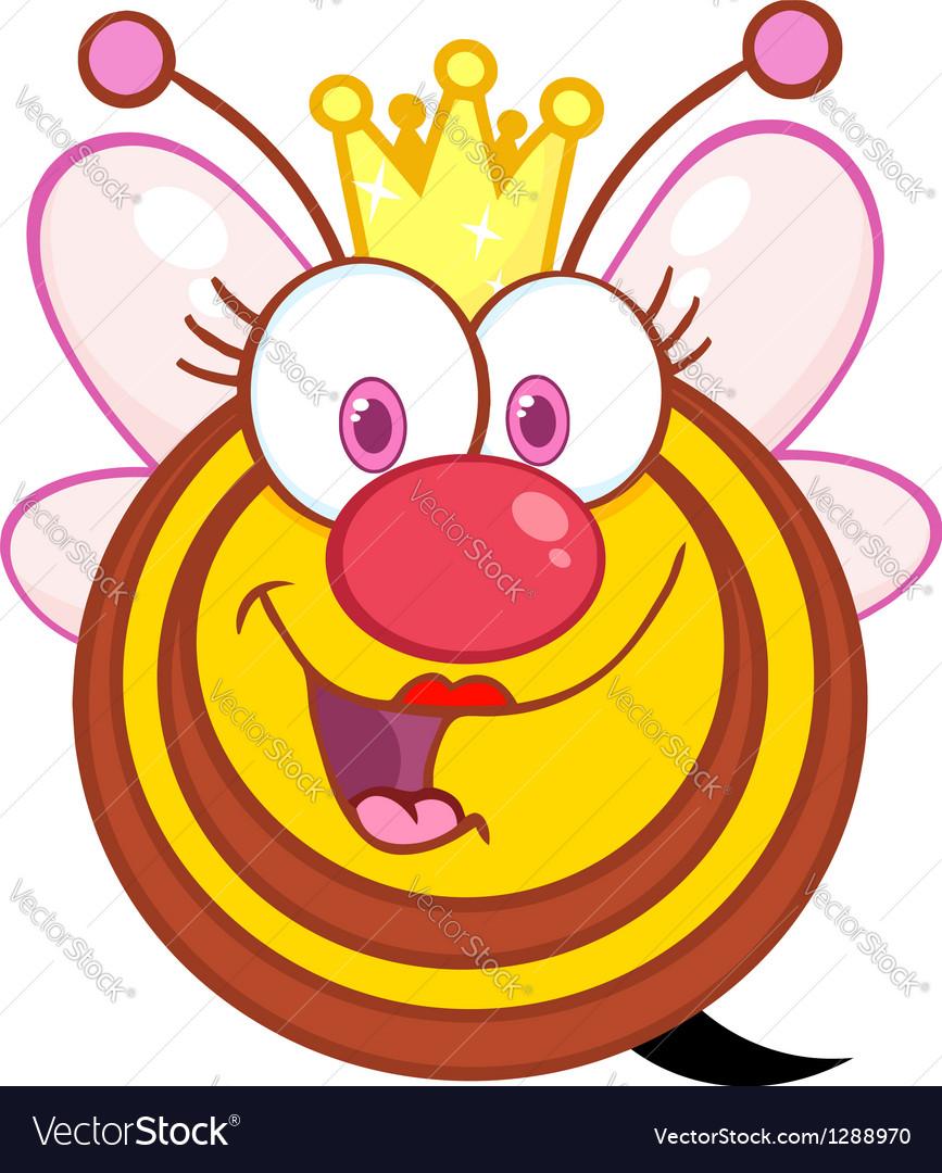 Queen bee cartoon mascot character vector | Price: 1 Credit (USD $1)