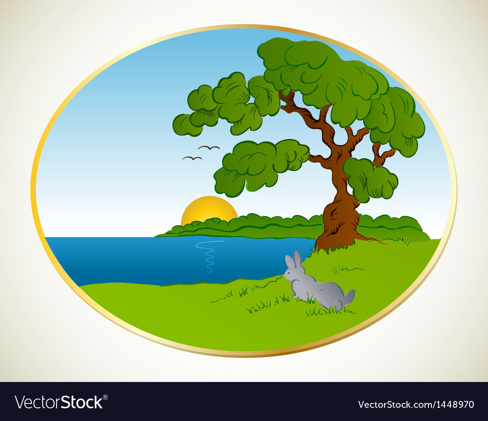 Rabbit in the forest background vector | Price: 1 Credit (USD $1)