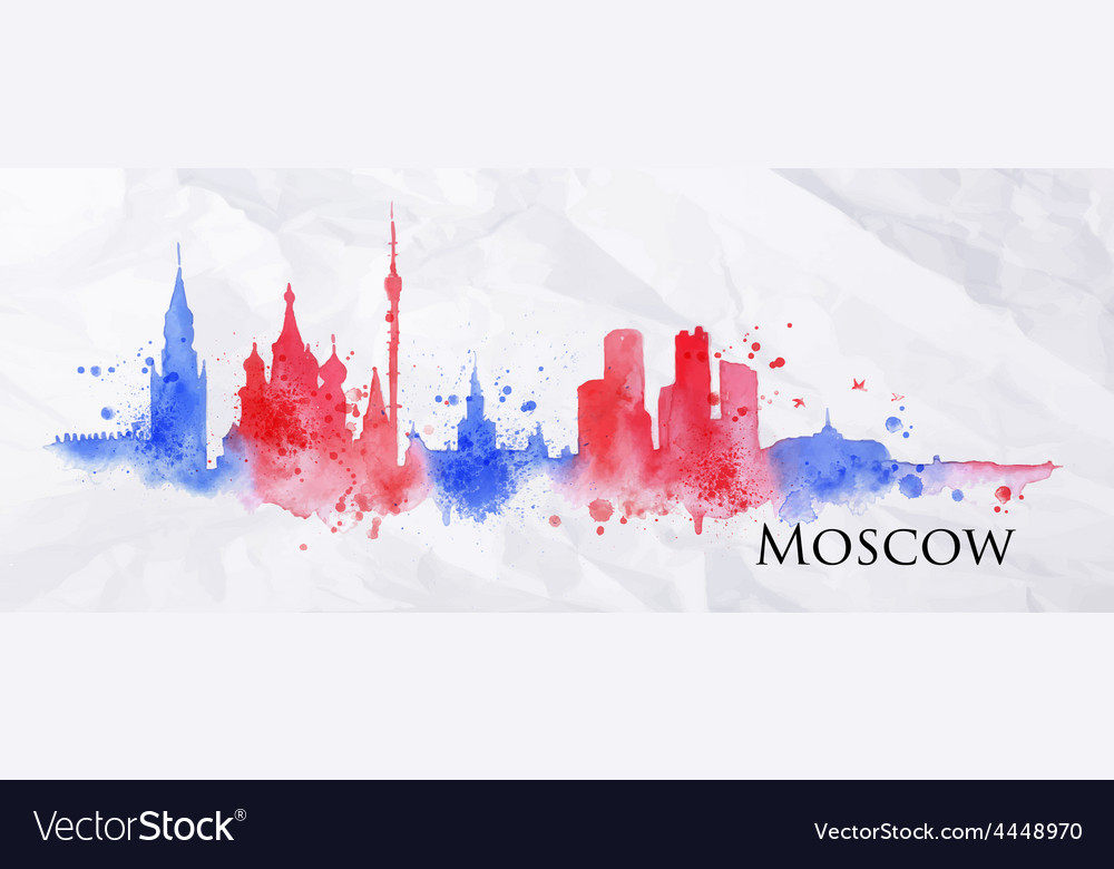 Silhouette watercolor moscow vector | Price: 1 Credit (USD $1)