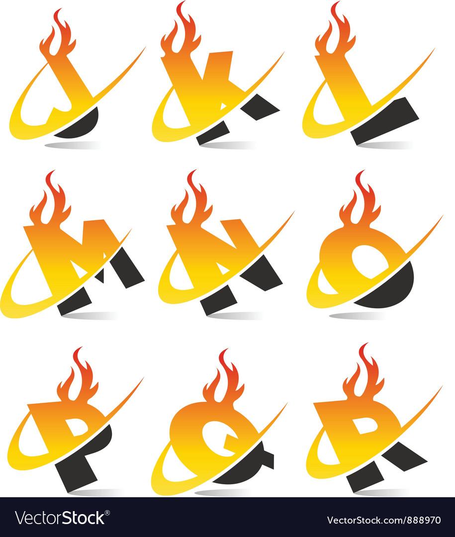 Swoosh flame alphabet logo set 2 vector | Price: 1 Credit (USD $1)