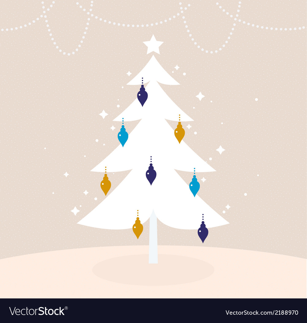 Winter retro tree with christmas decoration vector | Price: 1 Credit (USD $1)