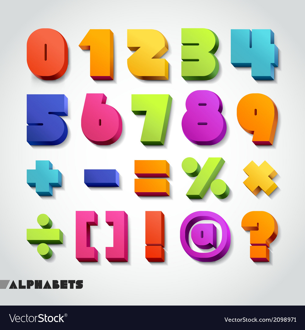 3d alphabet number colorful vector | Price: 1 Credit (USD $1)