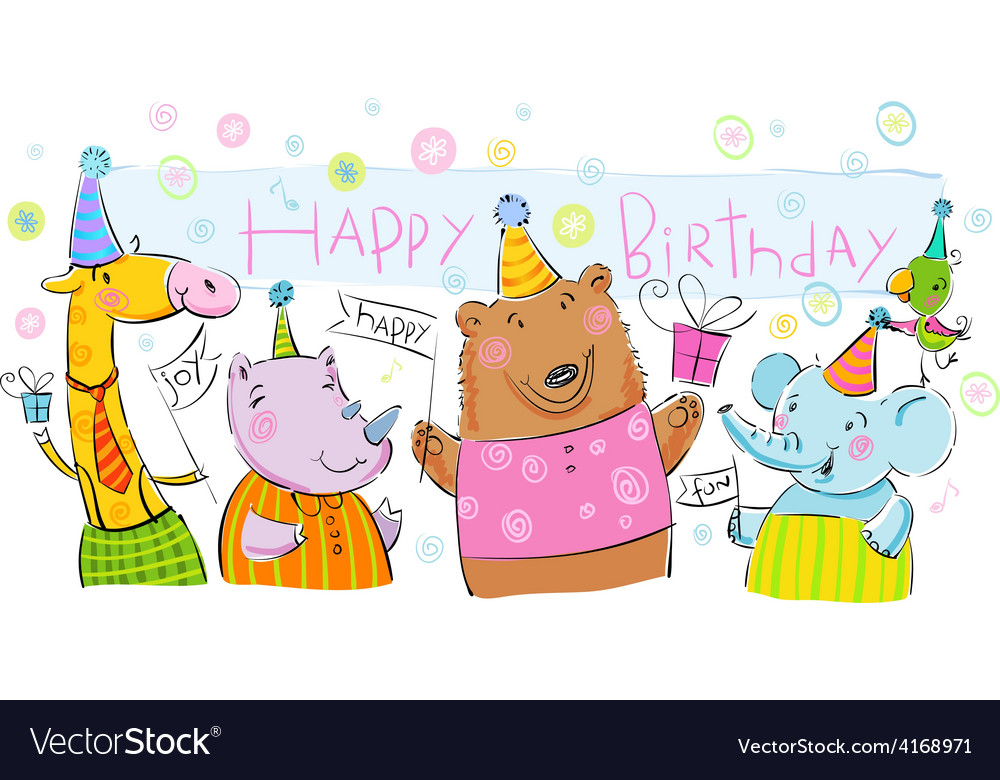 Birthday banner with animals vector | Price: 1 Credit (USD $1)