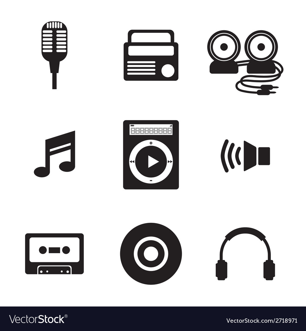 Black music icons vector | Price: 1 Credit (USD $1)