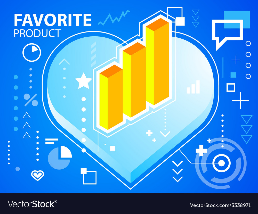 Bright heart and bar chart on blue backgroun vector | Price: 3 Credit (USD $3)