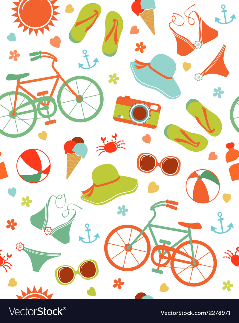 Colorful summer leisure pattern vector | Price: 1 Credit (USD $1)