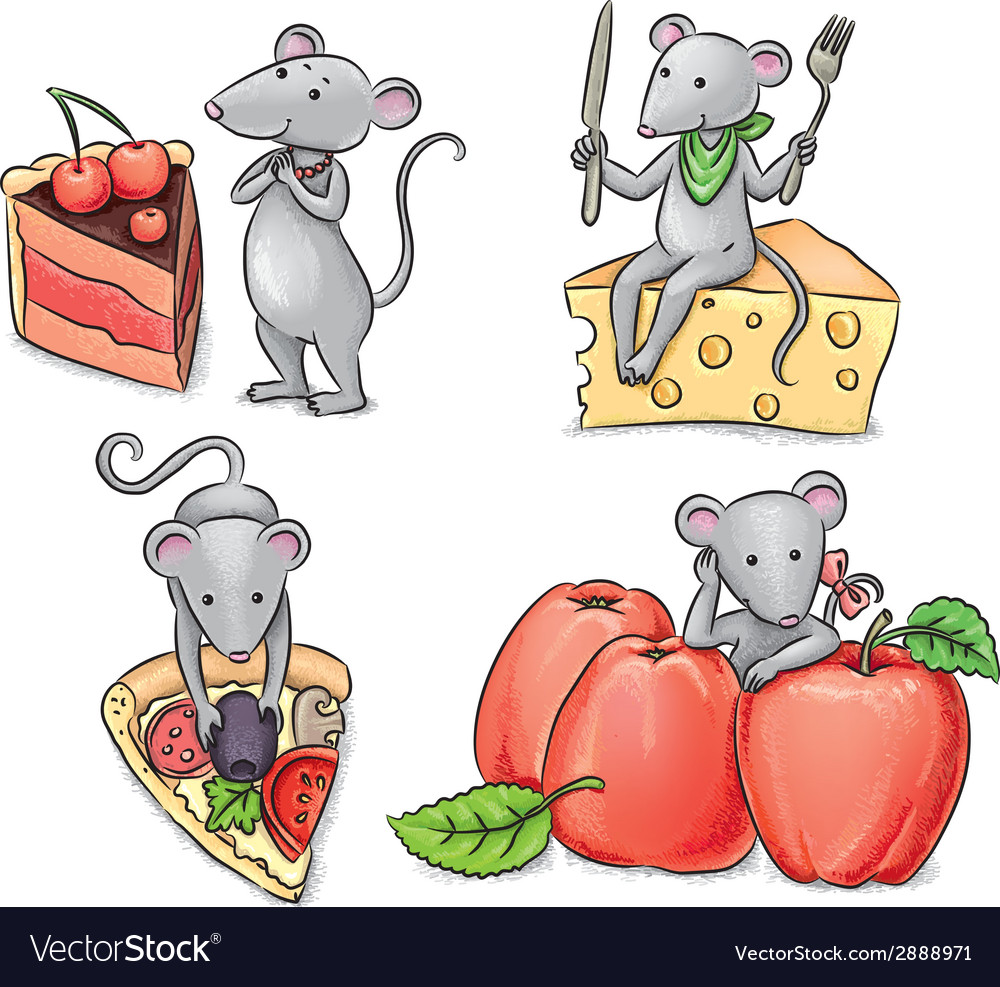 Mice and food vector | Price: 1 Credit (USD $1)