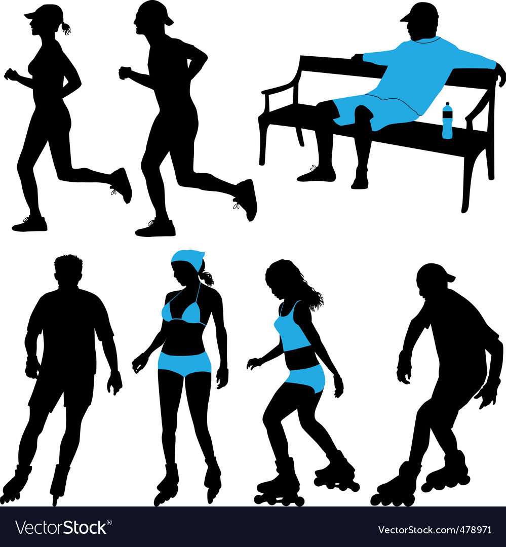People in park silhouettes vector | Price: 1 Credit (USD $1)