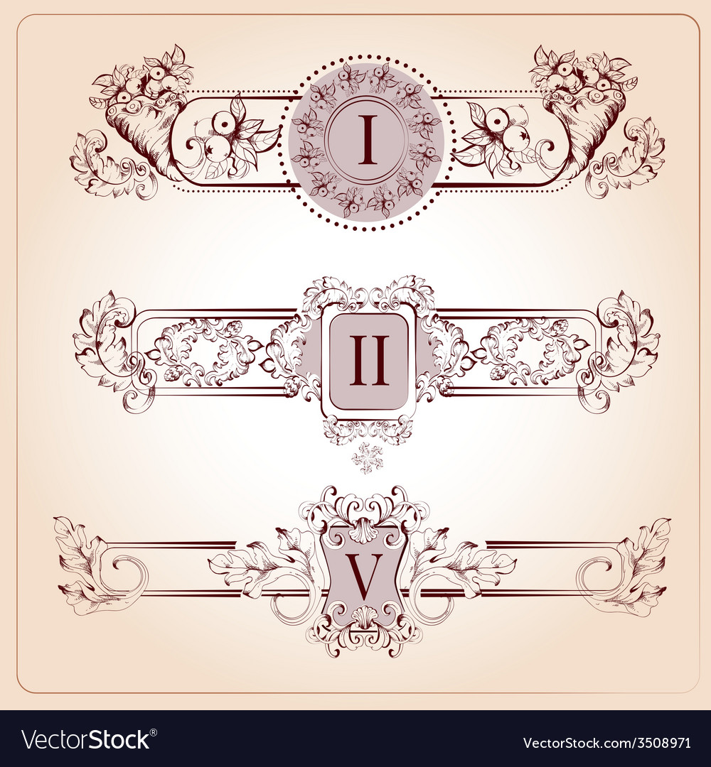 Retro chapter dividers vector | Price: 1 Credit (USD $1)