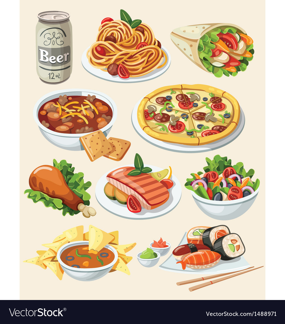 Set of traditional food icons vector | Price: 3 Credit (USD $3)