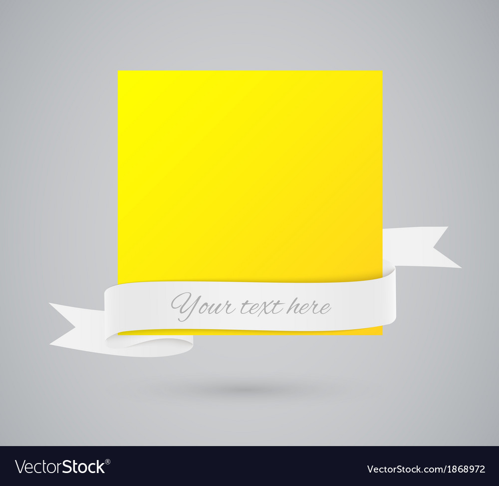 Abstract yellow card with ribbon vector | Price: 1 Credit (USD $1)